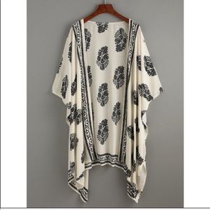 Boho print kimono cover up black cream